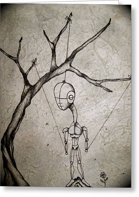Ink Drawing Greeting Cards - Mister Greeting Card by Jeff DOttavio