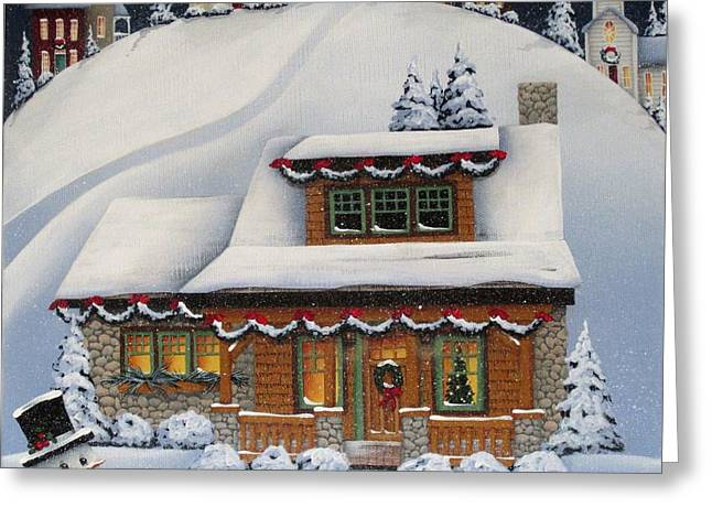 American Country Art Greeting Cards - Mistletoe Cottage Greeting Card by Catherine Holman