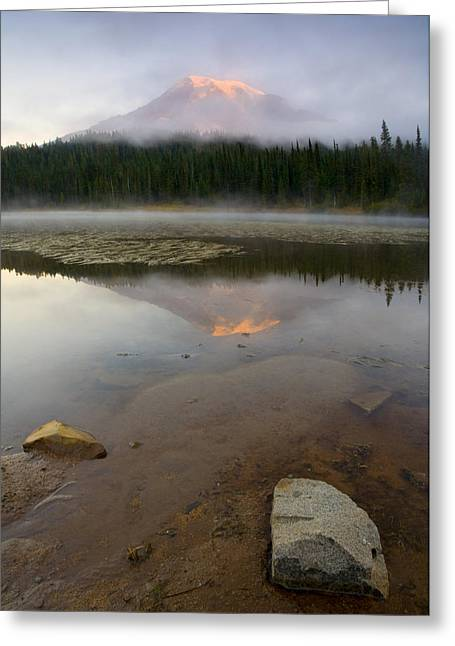 Fog Rising Greeting Cards - Misty Alpenglow Greeting Card by Mike  Dawson