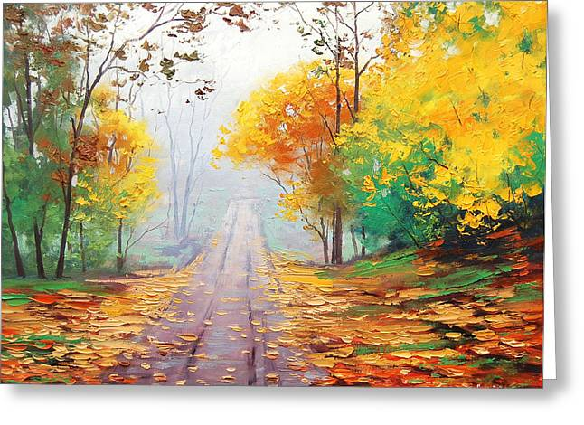 Fall Trees Greeting Cards - Misty Autumn Road Greeting Card by Graham Gercken