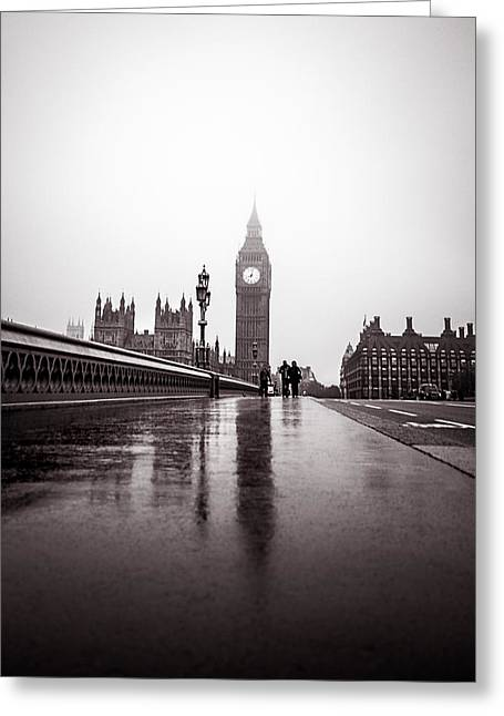 Carter House Greeting Cards - Misty Big Ben Greeting Card by Lenny Carter