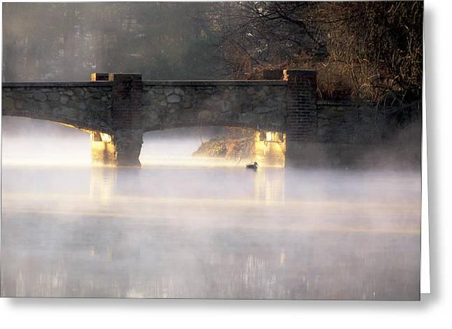 Misty Bridge Sunrise Greeting Card by Vicki Jauron