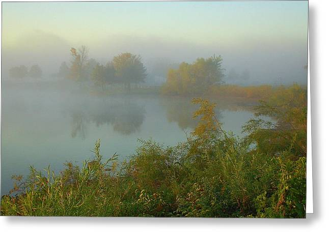 Blue Green Water Greeting Cards - Misty Cove Greeting Card by Monica Lewis