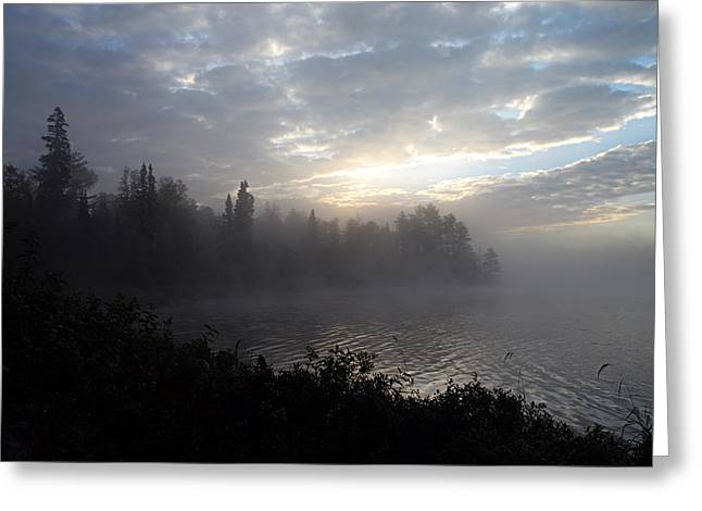 Misty Dawn on Boot Lake Greeting Card by Larry Ricker