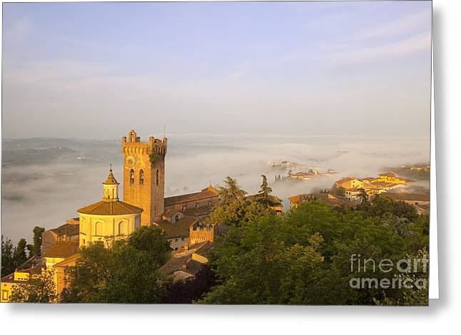 Tuscan Hills Greeting Cards - Misty Dawn San Miniato Greeting Card by Brian Jannsen