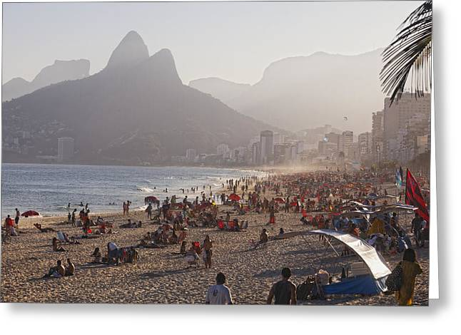 Ipanema Beach Greeting Cards - Misty Ipanema Greeting Card by George Oze