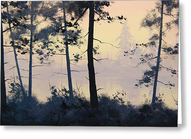 River Paintings Greeting Cards - Misty Lake Greeting Card by Graham Gercken