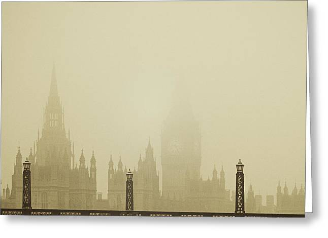 Carter House Greeting Cards - Misty London skyline Greeting Card by Lenny Carter