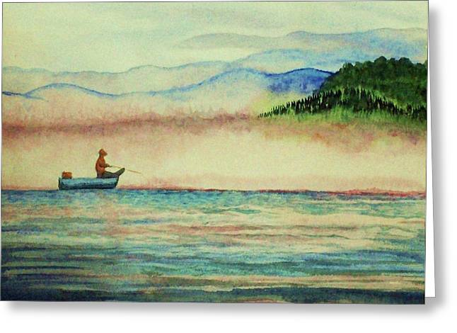 Fishing Boats Greeting Cards - Misty Morning Catch Greeting Card by Jeanette Stewart