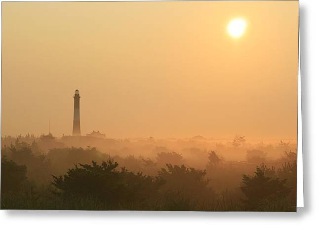 Long Island Photographs Greeting Cards - Misty Morning Fire Island Light Greeting Card by Christopher Kirby