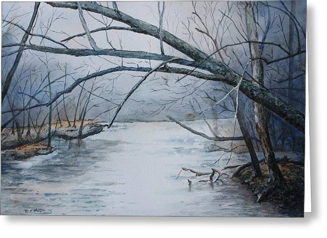 Patsy Sharpe Greeting Cards - Misty Morning on the Red River Greeting Card by Patsy Sharpe