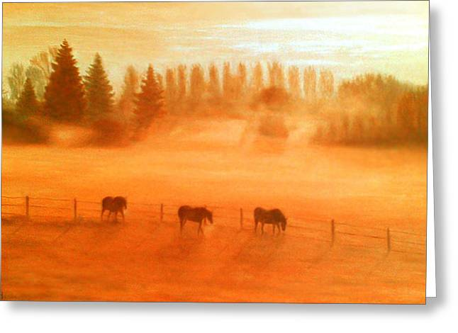 Misty Morning Greeting Card by Ronald Haber