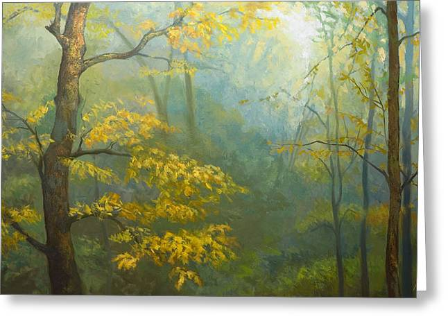 Jonathan Howe Greeting Cards - Misty Mountains Greeting Card by Jonathan Howe