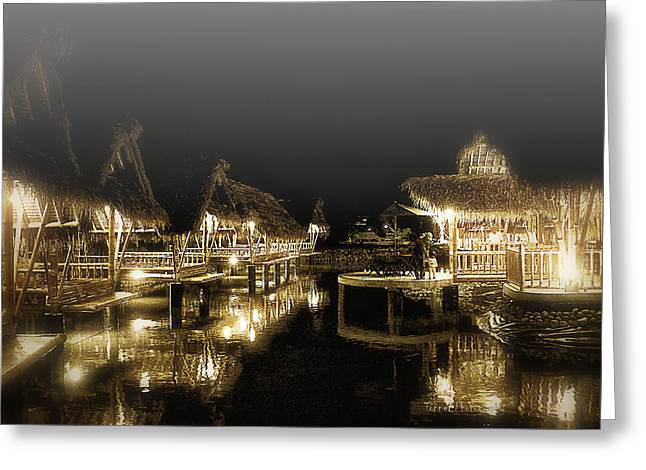 Bamboo House Greeting Cards - Misty NightShot at Bamboo FLoating Huts Greeting Card by Tonny Ernawan