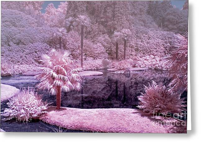 Infer Greeting Cards - Misty Pink Paradise - Infrared Photography Greeting Card by Steven Cragg