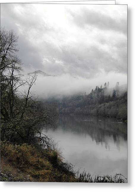 Misty River Drive Along The Umpqua Greeting Card by Alison Foster