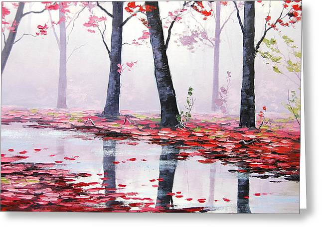Pink Blossoms Greeting Cards - Misty Stream Greeting Card by Graham Gercken