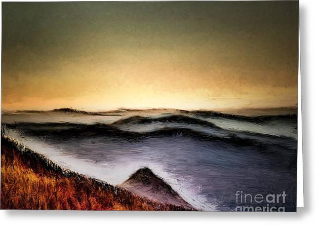 Misty Sunrise Greeting Card by Arne Hansen