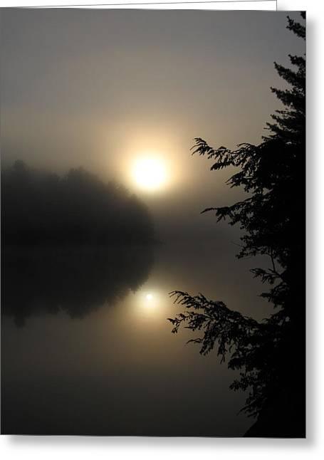 Canoe Pyrography Greeting Cards - Misty Sunrise Greeting Card by Waldemar Okon
