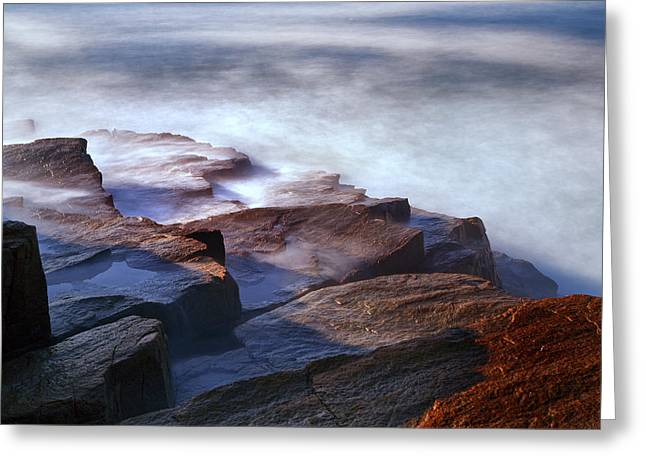 Maine Photographs Greeting Cards - Misty Tide at Monument Cove Greeting Card by Rick Berk