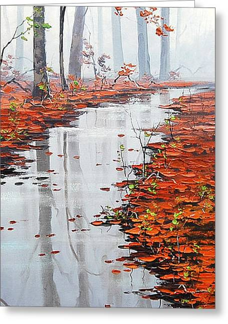 Fall Trees Greeting Cards - Misty Tream Greeting Card by Graham Gercken