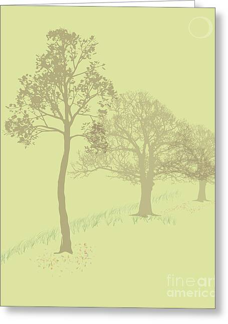 Michelle Bergersen Greeting Cards - Misty Trees Greeting Card by Michelle Bergersen