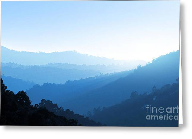 Haze Photographs Greeting Cards - Misty Valley Greeting Card by Carlos Caetano