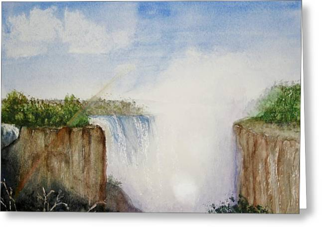 Zimbabwe Paintings Greeting Cards - Misty View at Victoria Falls Greeting Card by Christine Rinke
