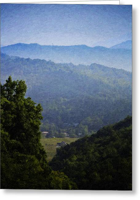 Recently Sold -  - Franklin Farm Greeting Cards - Misty Virginia Morning Greeting Card by Teresa Mucha