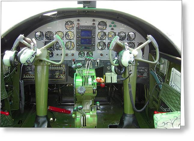 U.s. Air Force Greeting Cards - Mitchell B-25 Bomber Cockpit Greeting Card by Don Struke