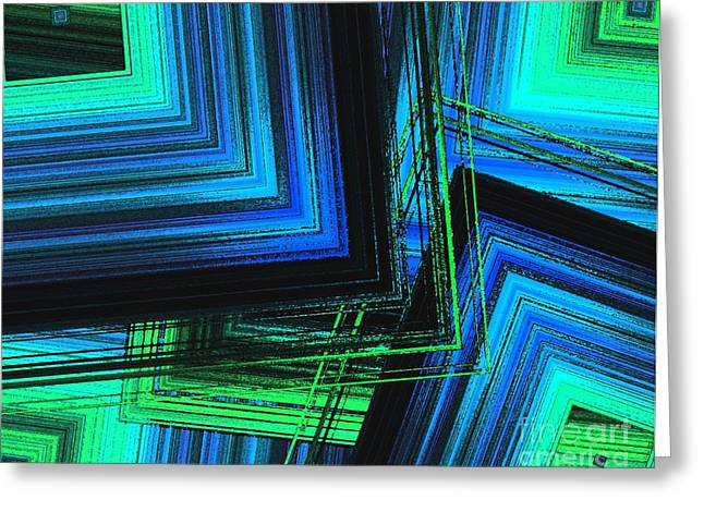 Transparency Geometric Greeting Cards - Mix in blue and green Art  Greeting Card by Mario  Perez