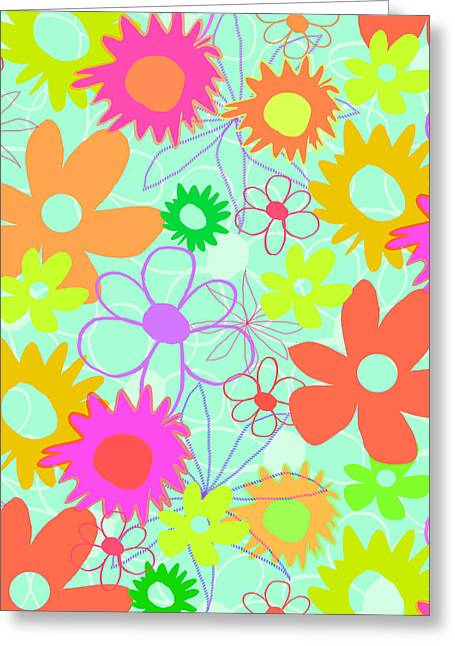 Bold Style Greeting Cards - Mixed Flowers Greeting Card by Louisa Knight