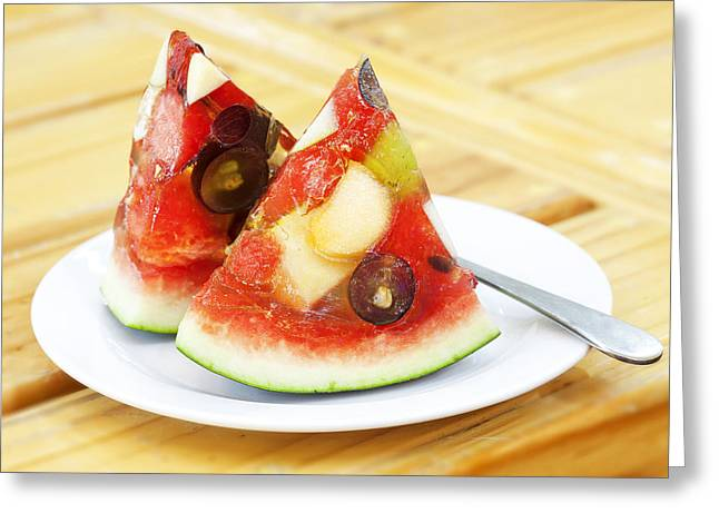 Melon Greeting Cards - Mixed Fruit Watermelon Greeting Card by Anek Suwannaphoom
