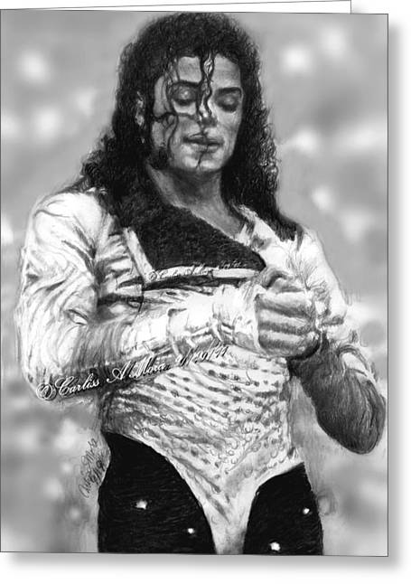 Mj Drawings Greeting Cards - MJ Preps For the Show Greeting Card by Carliss Mora
