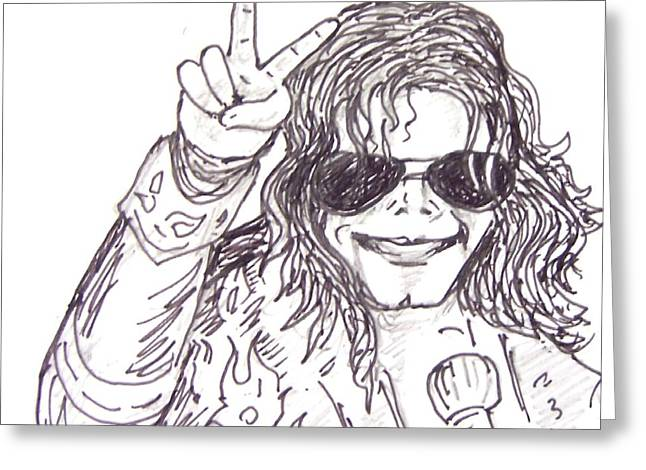 Mj Drawings Greeting Cards - Mj Greeting Card by Rajan V