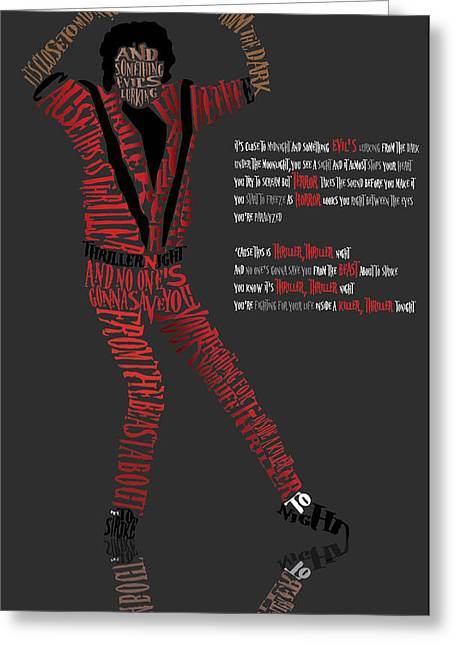 Smooth Criminal Greeting Cards - MJ_Typography Greeting Card by Mike  Haslam