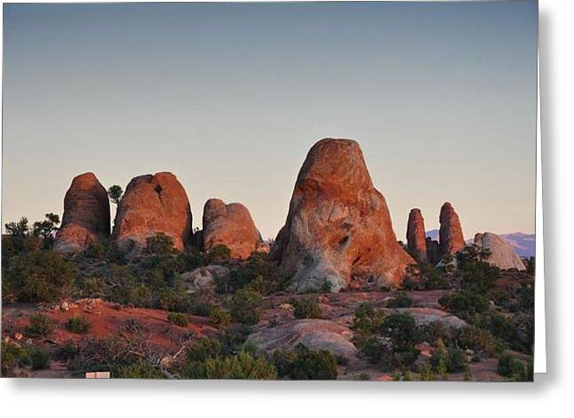 Green Day Greeting Cards - Moab Greeting Card by Susan Varuolo