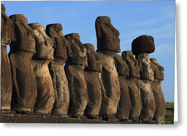 Primitive Sculpture Greeting Cards - Moai Along The Coast Of Easter Island Greeting Card by Stephen Alvarez