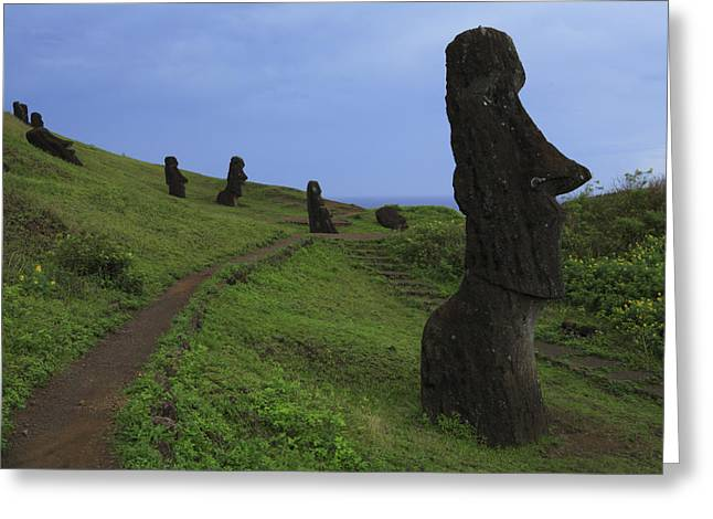 Primitive Sculpture Greeting Cards - Moai Standing On A Hillside At Rano Greeting Card by Stephen Alvarez
