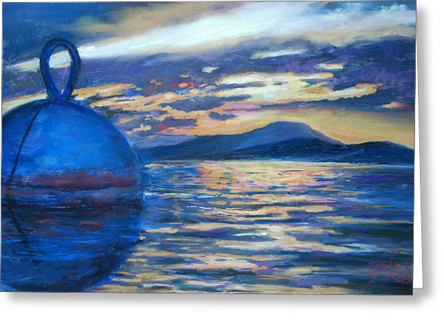 Blue Pastels Greeting Cards - Moaring Ball Overlooking St. John Greeting Card by Billie Colson