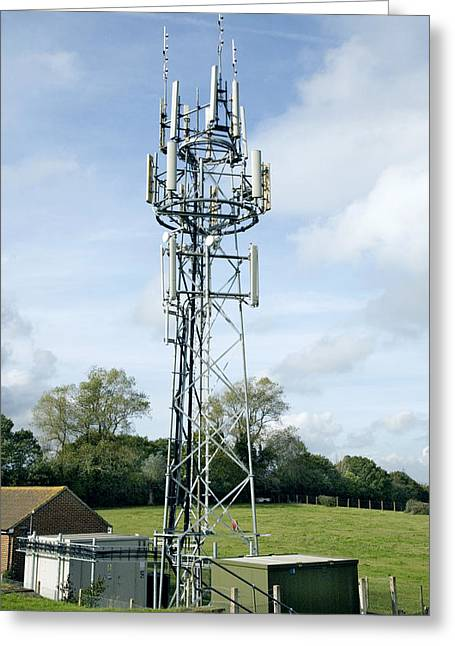 Technological Communication Greeting Cards - Mobile Phone Mast Greeting Card by Paul Rapson