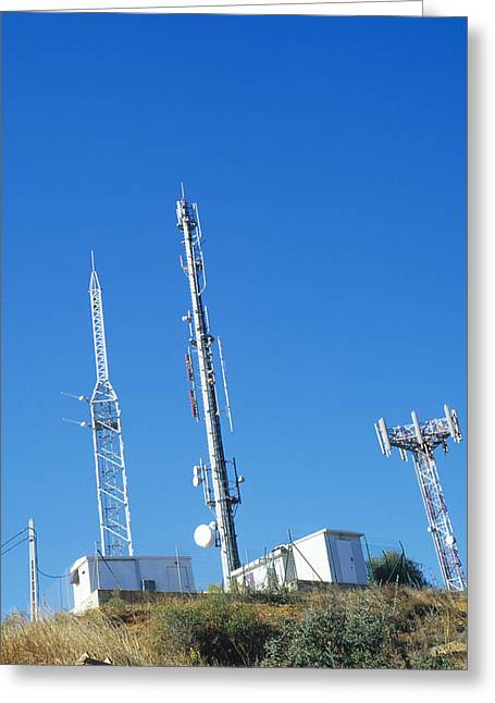 Mobile Phone Greeting Cards - Mobile Phone Masts Greeting Card by Carlos Dominguez