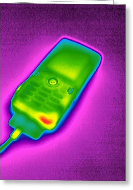 Mobile Phone On Charge, Thermogram Greeting Card by Tony Mcconnell