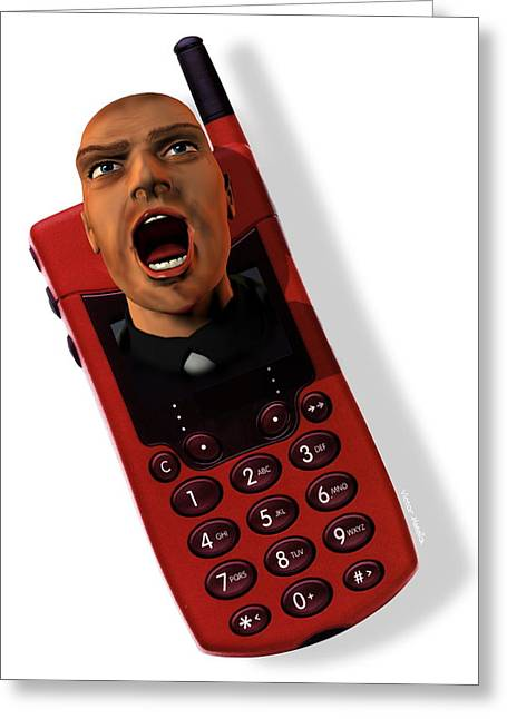 Cellphone Greeting Cards - Mobile Phone Rage Greeting Card by Victor Habbick Visions