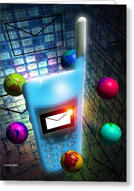Handset Greeting Cards - Mobile Telephone Text Messaging Greeting Card by Victor Habbick Visions