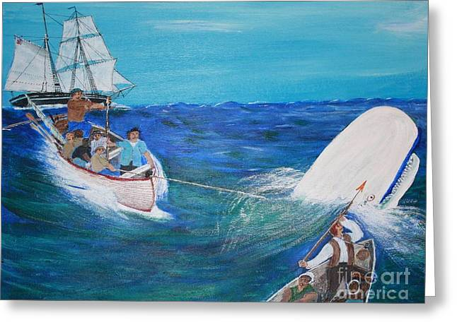 Bill Hubbard Greeting Cards - Moby Dick - The White Whale Greeting Card by Bill Hubbard