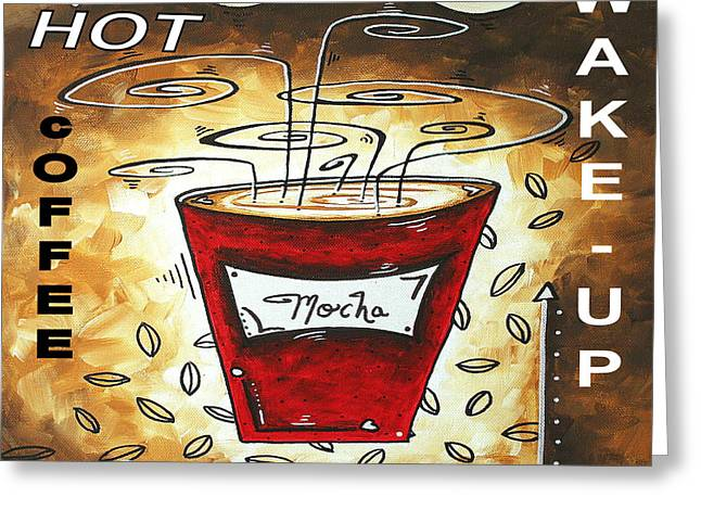 Mocha Beans Original Painting MADART Greeting Card by Megan Duncanson