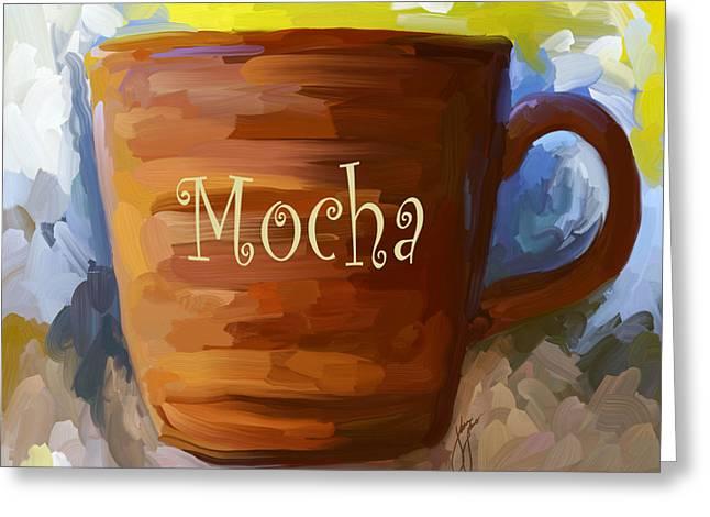Coffee Paintings Greeting Cards - Mocha Coffee Cup Greeting Card by Jai Johnson