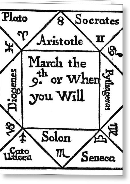 1690 Greeting Cards - Mock Horoscope, 1690 Greeting Card by Granger