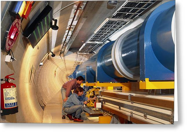Lhc Greeting Cards - Mock-up Of Large Hadron Collider At Cern Greeting Card by David Parker